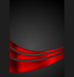 Shiny red glossy waves on black background vector
