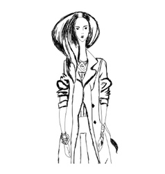 Sketch of young fashion woman in boho style for t vector
