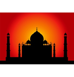 Sunset Taj Mahal vector image vector image