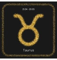 Taurus zodiac sign gold glitter for horoscope vector image