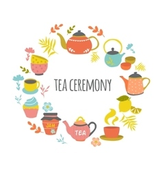 Tea Ceremony Hand Drawn Round Design vector image vector image