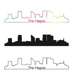 The Hague skyline linear style with rainbow vector image vector image