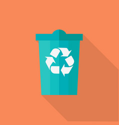 Trash bin in flat design vector