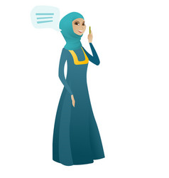 Young muslim business woman with speech bubble vector