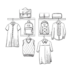 School uniform clothes on the hanger backpack vector