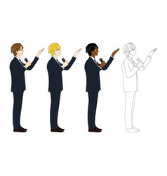 business man with microphone presentation side vector image