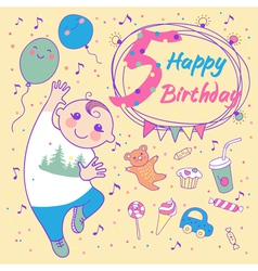 Birthday of the little boy 5 years vector