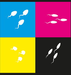 Sperms sign   white icon with vector