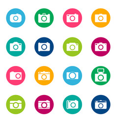Set of photo icons on color background vector