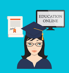 Education online with girl computer screen and vector