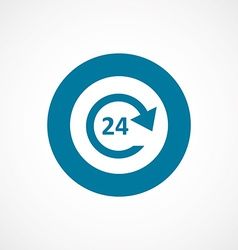 24 hours service bold blue border circle icon vector