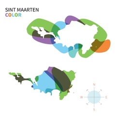 Abstract color map of sint maarten vector