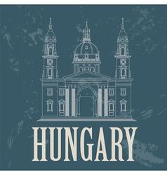 Hungary landmarks retro styled image vector