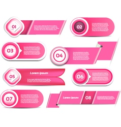 Set of pink progress version step icons vector