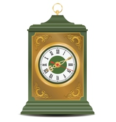Bronze and green old antique clock vector