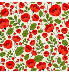 Retro red poppies seamless pattern vector