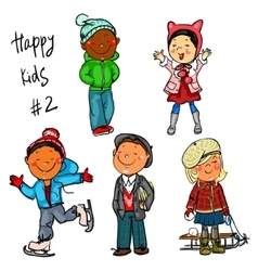 Happy kids - part 2 winter edition vector