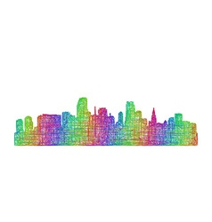 Miami skyline silhouette - multicolor line art vector