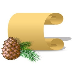 Roll of parchment paper and pine cone vector