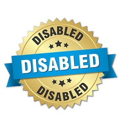 Disabled 3d gold badge with blue ribbon vector