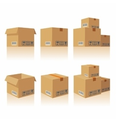 Closed open recycle brown carton delivery vector