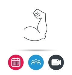 Biceps muscle icon Bodybuilder strong arm sign vector image vector image