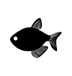 black silhouette graphic with fish vector image