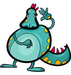 cartoon dragon funny fantasy creature vector image vector image