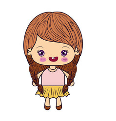 Colorful silhouette of kawaii cute little girl vector