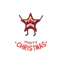 Cookies star cheerful christmas card vector