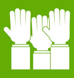 different people hands raised up icon green vector image