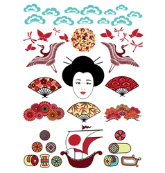 ethnical japan elements vector image vector image