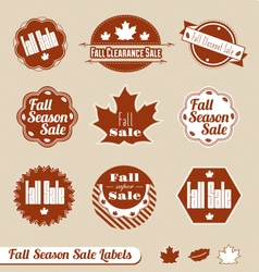 Fall seasonal sale label set vector