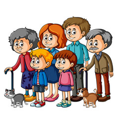 Family members with parents and kids vector