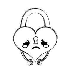 Figure crying heart padlock kawaii personage vector
