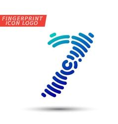 fingerprint font logo icon vector image vector image