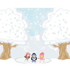 Girls on skates and sweet penguin vector image vector image