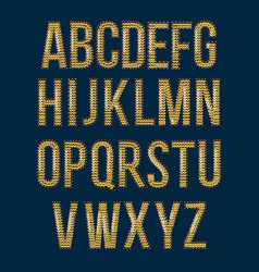 Golden font embroidered sequins to create labels vector