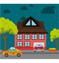 Home landscape cartoon graphic vector
