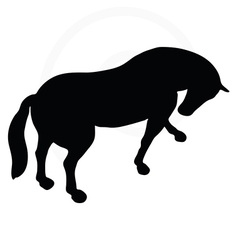 Horse silhouette in standing around pose vector