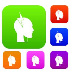 lightning bolt inside head set color collection vector image