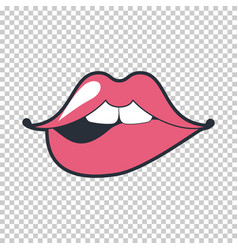 Lips kiss patch sticker isolated on white vector