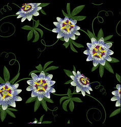 passiflora seamless pattern vector image vector image