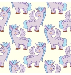 Pastel colored hand drawn unicorns seamless vector