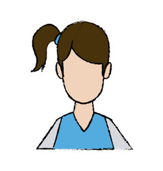 Portrait young female cartoon hair style vector