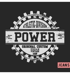 Power gear vintage stamp vector