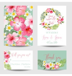Save the Date Card - Tropical Flowers for Weddings vector image vector image