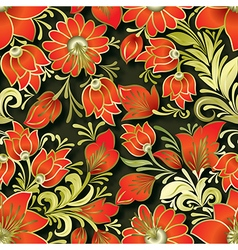 Seamless red floral ornament on dark background vector