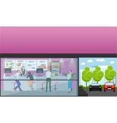 Set of banners with cafe interiors fast vector