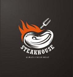 steak house logo design vector image